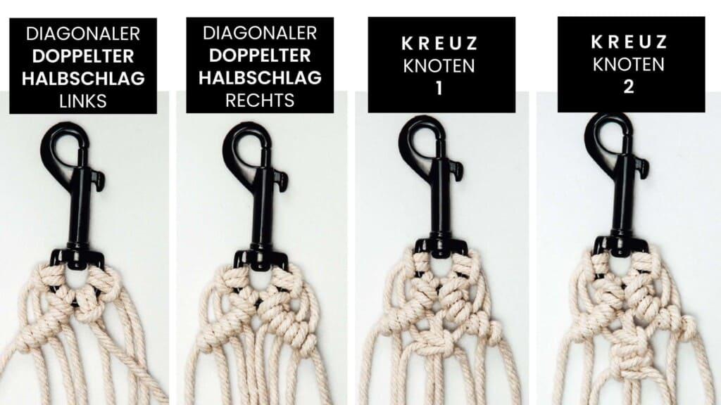 Makramee Schlüsselanhänger Muster knüpfen Schritt für Schritt Teil 1